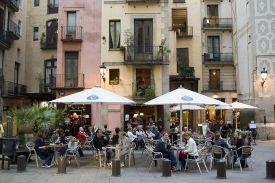 ESPAÑA. CATALUÑA. BARCELONA. Barrio de la Ribera. Plaza de Santa María.